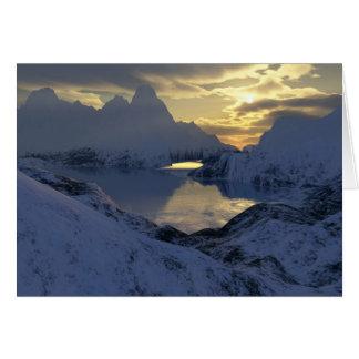 inverno na terra do fractal cartão comemorativo