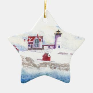 inverno no ornamento da estrela de Maine do farol