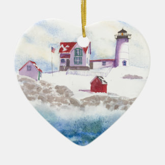 inverno no ornamento do coração de Maine do farol