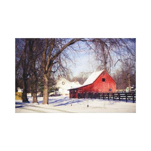 Inverno, uma cena do inverno na lona impressão em tela canvas