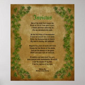 Invictus, poema do Victorian no pergaminho com her Poster