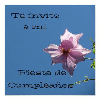 Invitación - Festa de Cumpleaños - Azul y Rosa Convite Quadrado 13.35 X 13.35cm