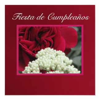 Invitación - Festa de Cumpleaños - roja de Rosa Convite Quadrado 13.35 X 13.35cm