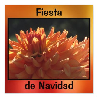 Invitación - Festa de Navidad - La Dalia Naranja Convite Quadrado 13.35 X 13.35cm