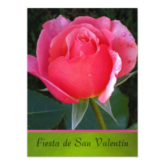 Invitación - Festa de San Valentín - Rosa rosa Convite 16.51 X 22.22cm