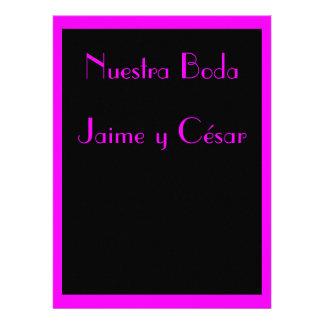 Invitación - Nuestra Boda - Negra y rosa Convites Personalizados