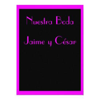 Invitación - Nuestra Boda - Negra y rosa Convite 16.51 X 22.22cm