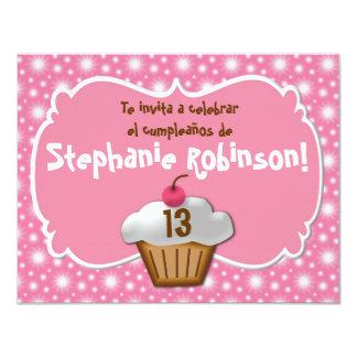 Invitaciones de cumpleaños, cupcake de Festa de Convite 10.79 X 13.97cm