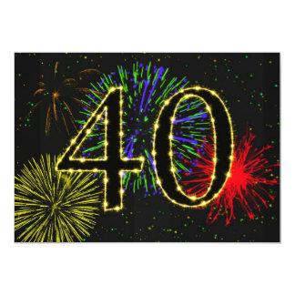 Invitate do partido de aniversário de 40 anos convite 12.7 x 17.78cm