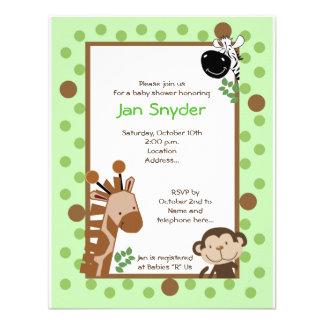 Invitati verde do chá de fraldas do safari da aven convites personalizados