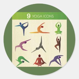 ioga 9 nove posistions diferentes, iogue, chakra, adesivo