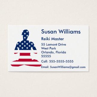 Ioga do americano da meditação dos EUA Cartão De Visitas