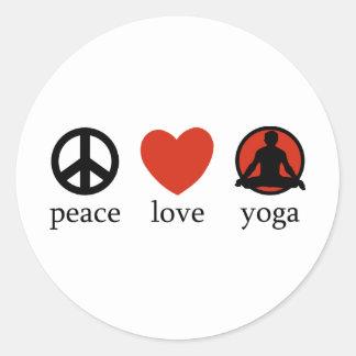 Ioga do amor da paz adesivos em formato redondos