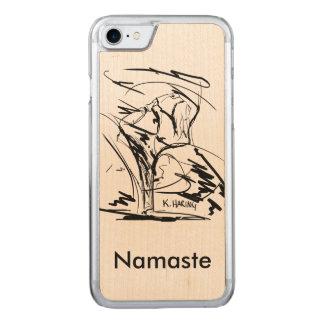 Ioga nas capas de iphone de madeira
