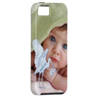 iPhone da cegonha dos azuis bebés da foto do bebê Capa Tough Para iPhone 5