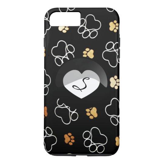 iPhone do monograma do coração do gato do cão Capa iPhone 8 Plus/7 Plus