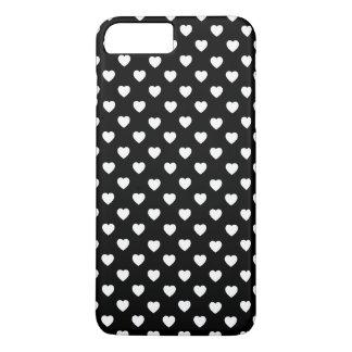 iPhone do teste padrão dos corações/caixa preto e Capa iPhone 7 Plus