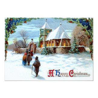 Ir à árvore de Natal verde da igreja Convite 12.7 X 17.78cm