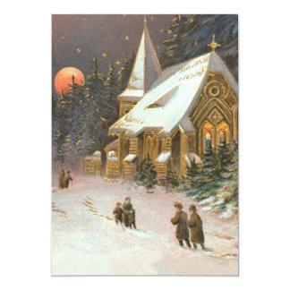 Ir às estrelas da lua da neve da árvore da igreja convite 12.7 x 17.78cm