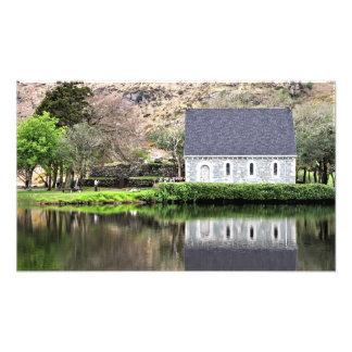 Ireland, igreja, parede de pedra, lago, fotografia