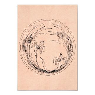 Íris de Nouveau da arte do vintage - modelo da Convite 8.89 X 12.7cm