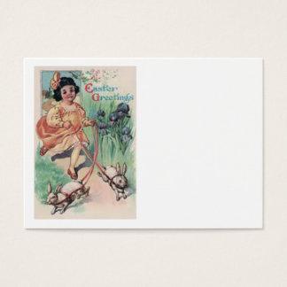Íris do coelhinho da Páscoa da menina do Victorian Cartão De Visitas