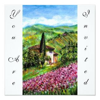 ÍRIS em TOSCÂNIA, campo de flor roxo verde Convite Quadrado 13.35 X 13.35cm