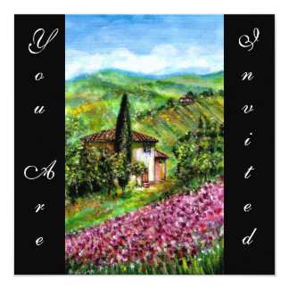 ÍRIS em TOSCÂNIA, campo de flor roxo verde, preto Convite Quadrado 13.35 X 13.35cm