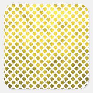Irlandês do trevo da folha do trevo quatro do ouro adesivo quadrado