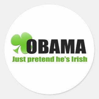 Irlandês Obama Adesivo Redondo