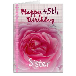 IRMÃ - 45th aniversário feliz - rosa do rosa Cartao