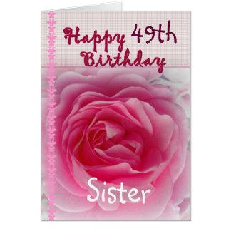 IRMÃ - 49th aniversário feliz - rosa do rosa Cartão