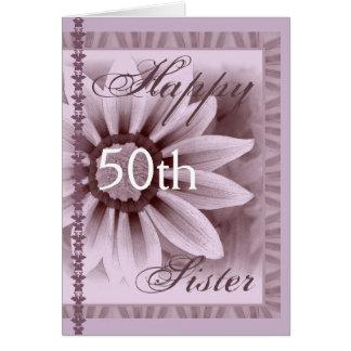 IRMÃ - 50th aniversário feliz - flor da LAVANDA Cartoes