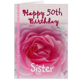IRMÃ - 50th aniversário feliz - rosa do rosa Cartoes