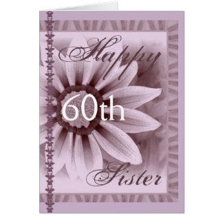 IRMÃ - 60th aniversário feliz - flor da LAVANDA Cartões