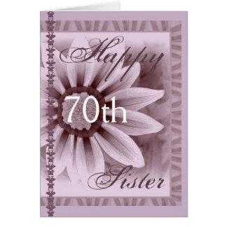 IRMÃ - aniversário feliz do 70 - flor da LAVANDA Cartao