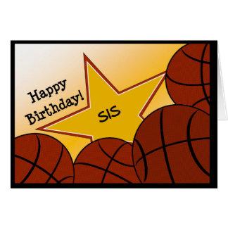 Irmã - basquetebol do feliz aniversario que ama o cartão comemorativo