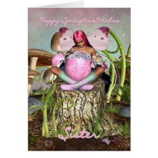 Irmã - cartão de páscoa feericamente da primavera