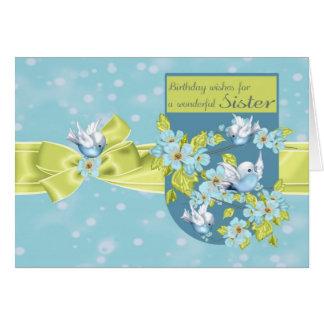 Irmã, cartão do aniversário com pássaros bonito