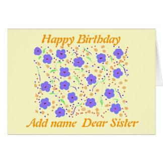 Irmã do cartão do feliz aniversario. adicione o