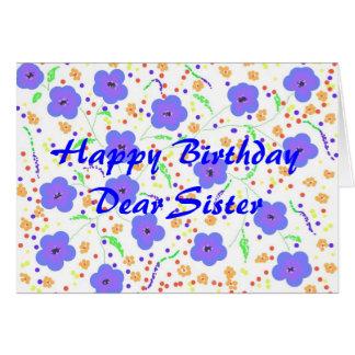 Irmã do cartão do feliz aniversario, personalizabl