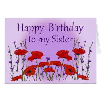 Irmã do feliz aniversario, campo das papoilas cartão comemorativo