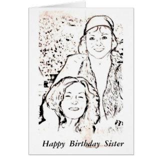 Irmã do feliz aniversario cartão de nota