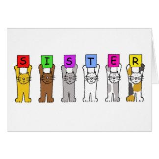 Irmã do feliz aniversario com gatos dos desenhos cartão comemorativo
