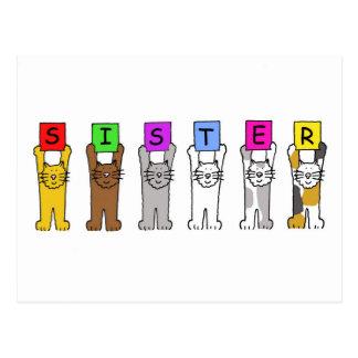 Irmã do feliz aniversario com gatos dos desenhos cartão postal