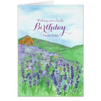 Irmã do feliz aniversario do campo da lavanda das cartão comemorativo