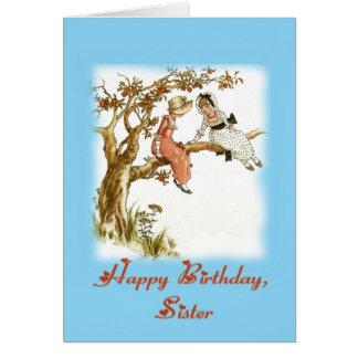 Irmã do feliz aniversario, vintage cartão comemorativo