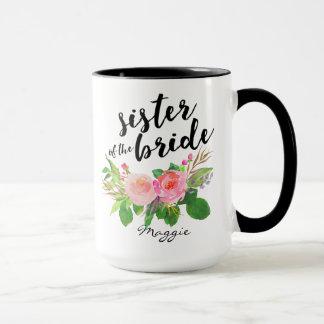 Irmã do floral da aguarela da noiva personalizada caneca