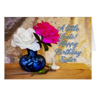 Irmã, feliz aniversario com rosas pintados cartão comemorativo