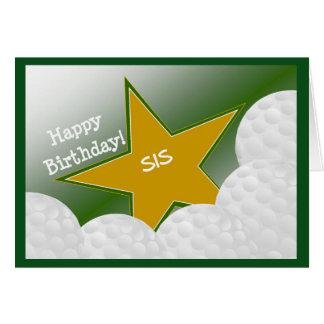 Irmã - golfe do feliz aniversario que ama o Sis! Cartão Comemorativo